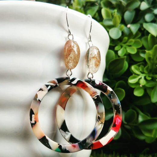 Rutilated Quartz and Acetate Sterling Silver Earrings
