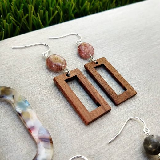 Strawberry Quartz With Wood Sterling Silver Earrings