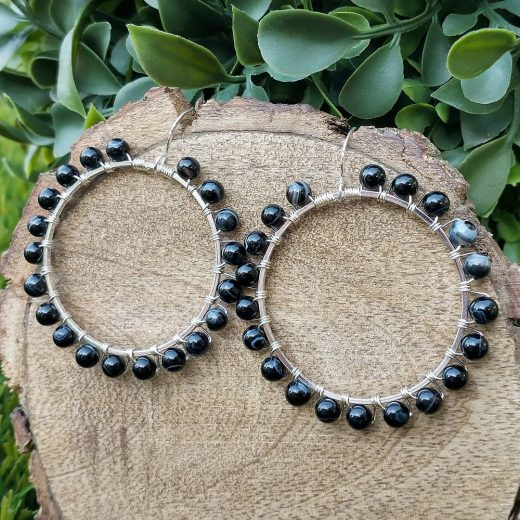 Black Agate Round Sterling Silver Earrings