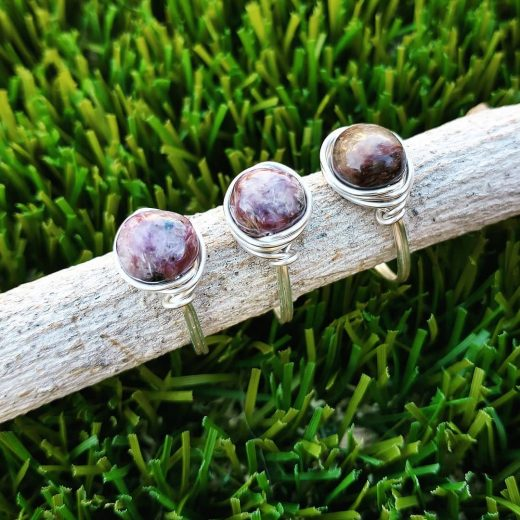 Charoite Wire-Wrapped Rings
