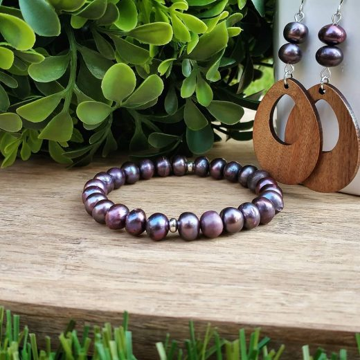 Freshwater Pearl Bracelet With Wood Accent Sterling Silver Earrings