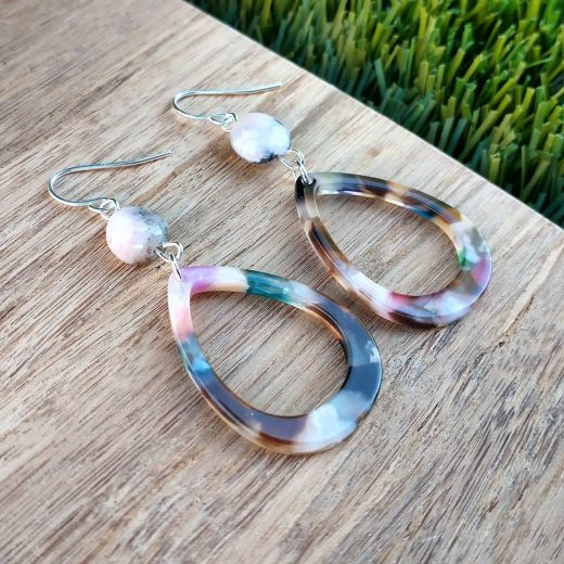 Pink Opal and Acetate Sterling Silver Earrings