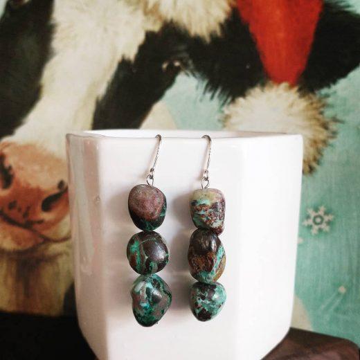 3 Stone Turquoise Earrings