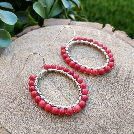 Bamboo Coral Sterling Silver Earrings