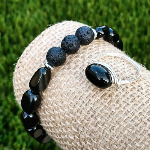 Black Obsidian and Lava Stone Bracelet With Wire-Wrapped Ring