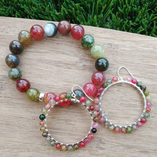 Colorful Agate Bracelet with Sterling Silver Earrings