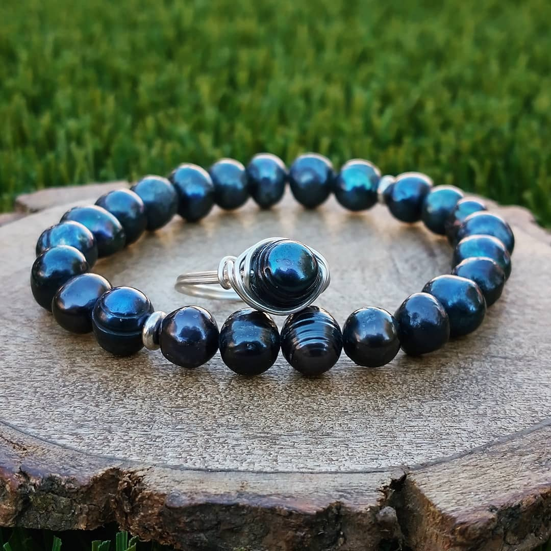 Deep Blue Freshwater Pearl Bracelet and Wire-Wrapped Ring