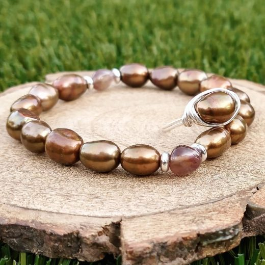 Freshwater Pearls and Rutilated Quartz Bracelet with Wire-Wrapped Ring