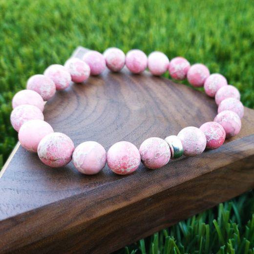 Matte Pink Imperial Jasper Bracelet