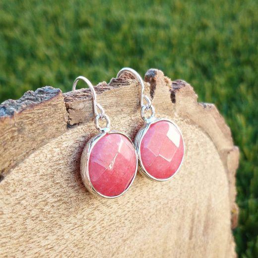 Sweet Strawberry Jade Sterling Silver Earrings