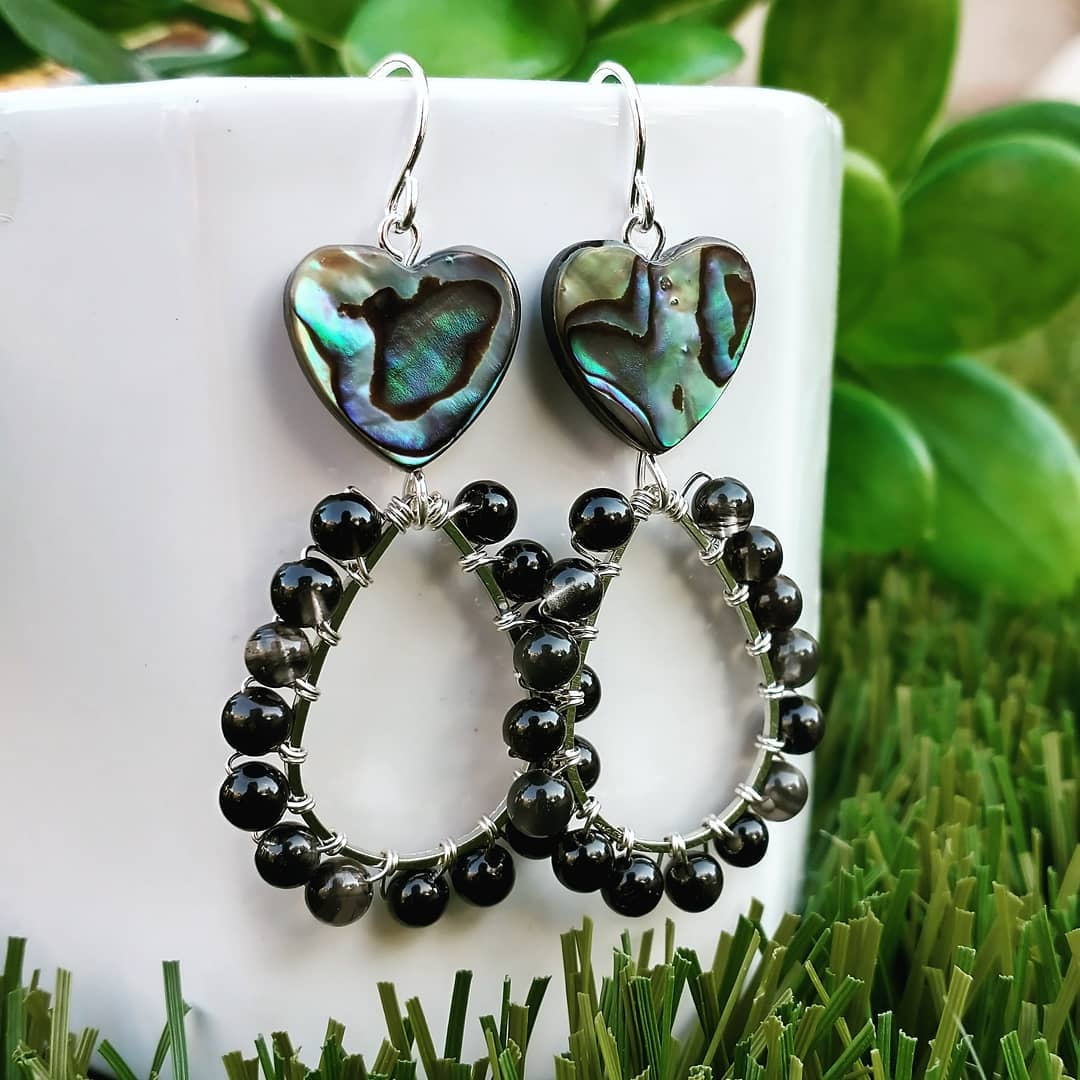 Abalone Hearts with Obsidian Sterling Silver Earrings