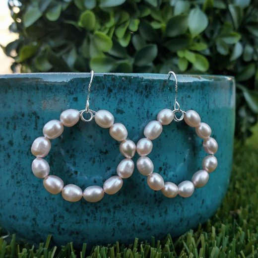 Champagne Freshwater Pearl Sterling Silver Earrings