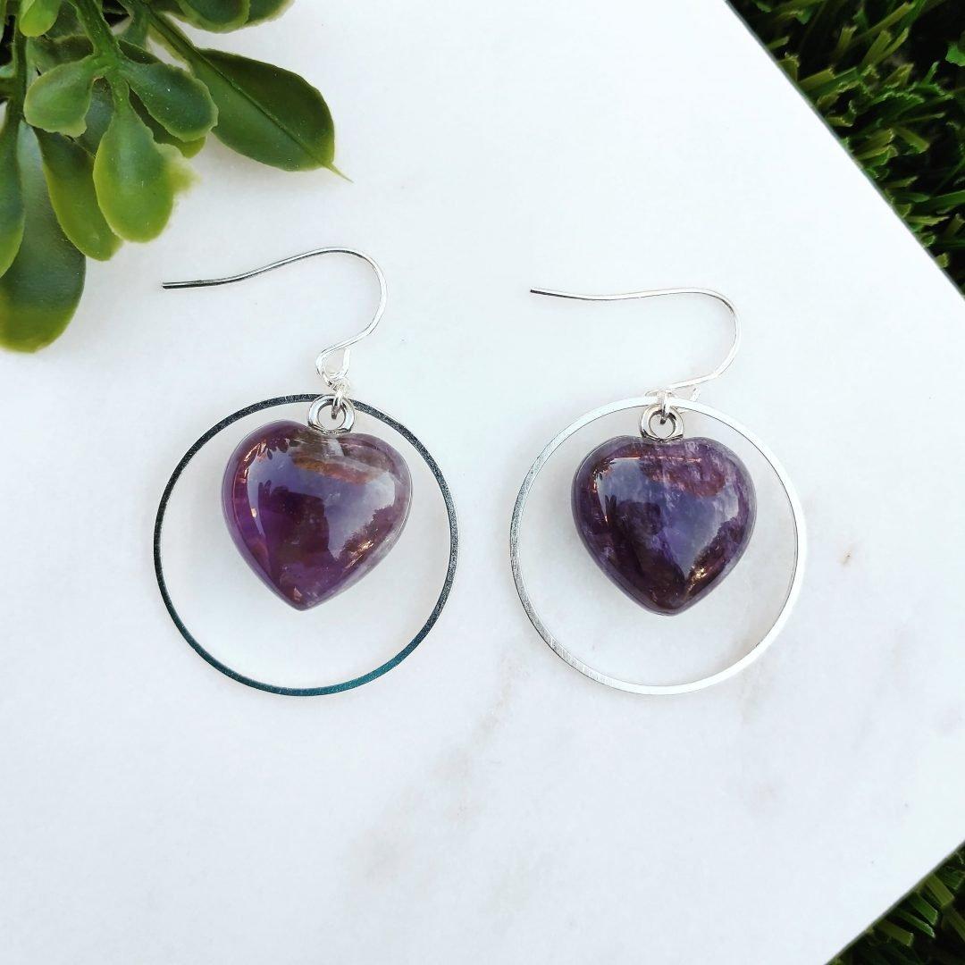Amethyst Heart Sterling Silver Earrings