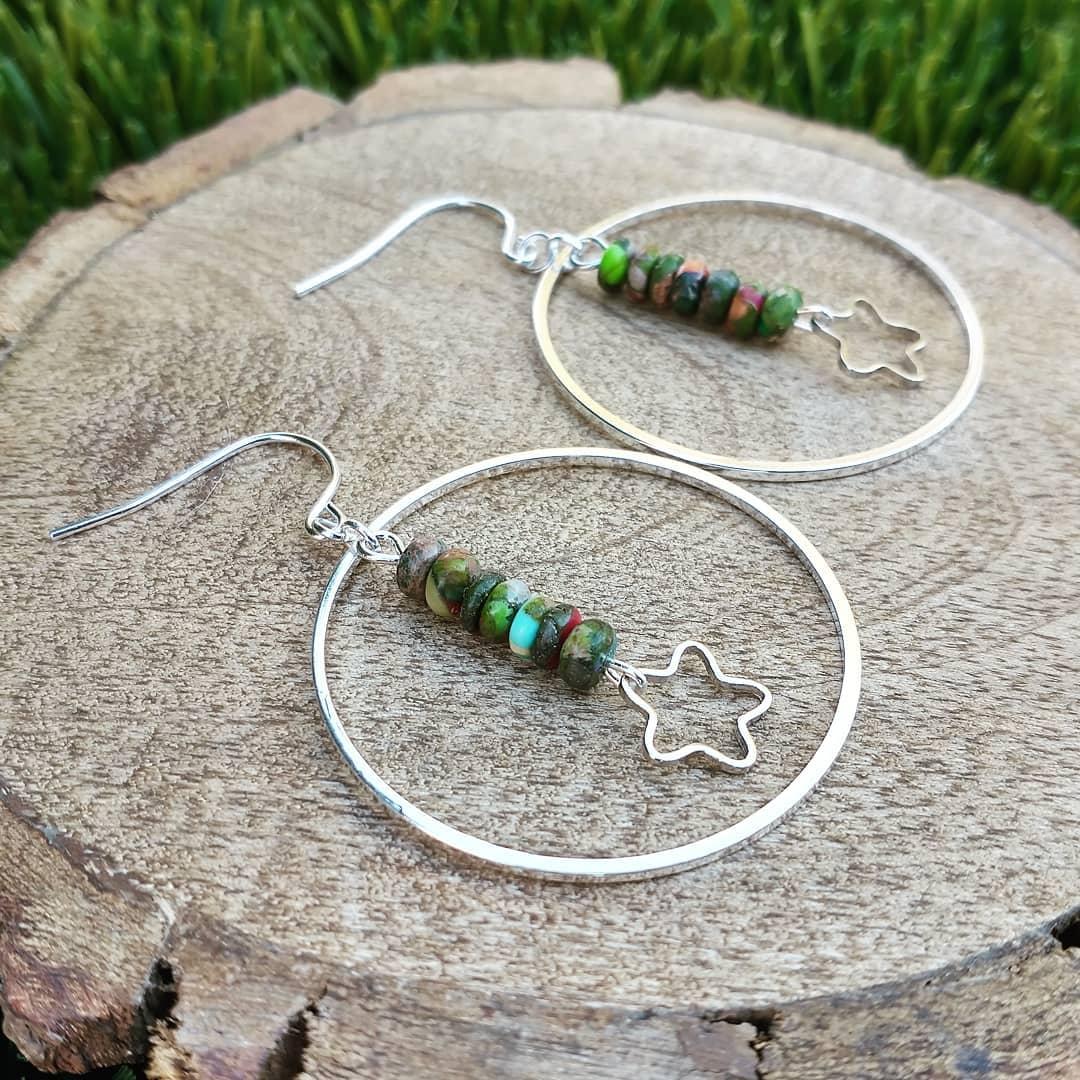 Imperial Jasper and Stars Sterling Silver Earrings