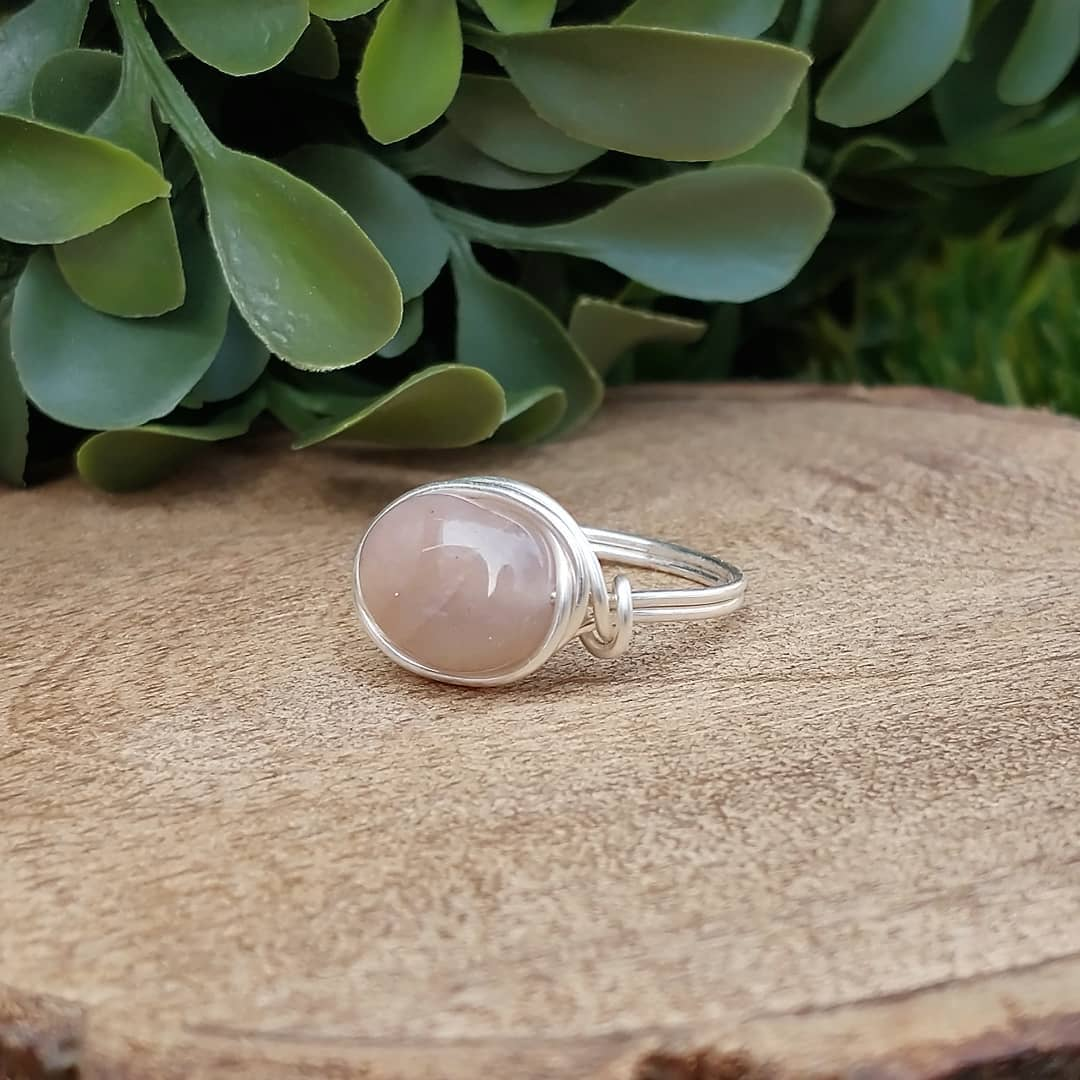 Moonstone Wire-Wrapped Ring