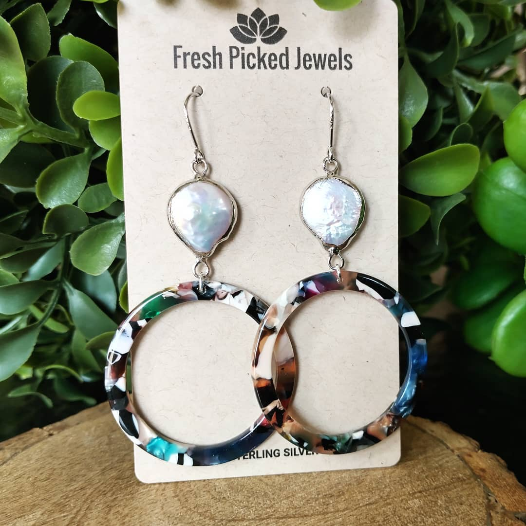 Mother of Pearl and Acetate Sterling Silver Earrings