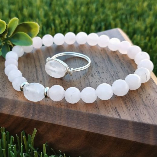 Rose Quartz Bracelet and Wire-Wrapped Ring