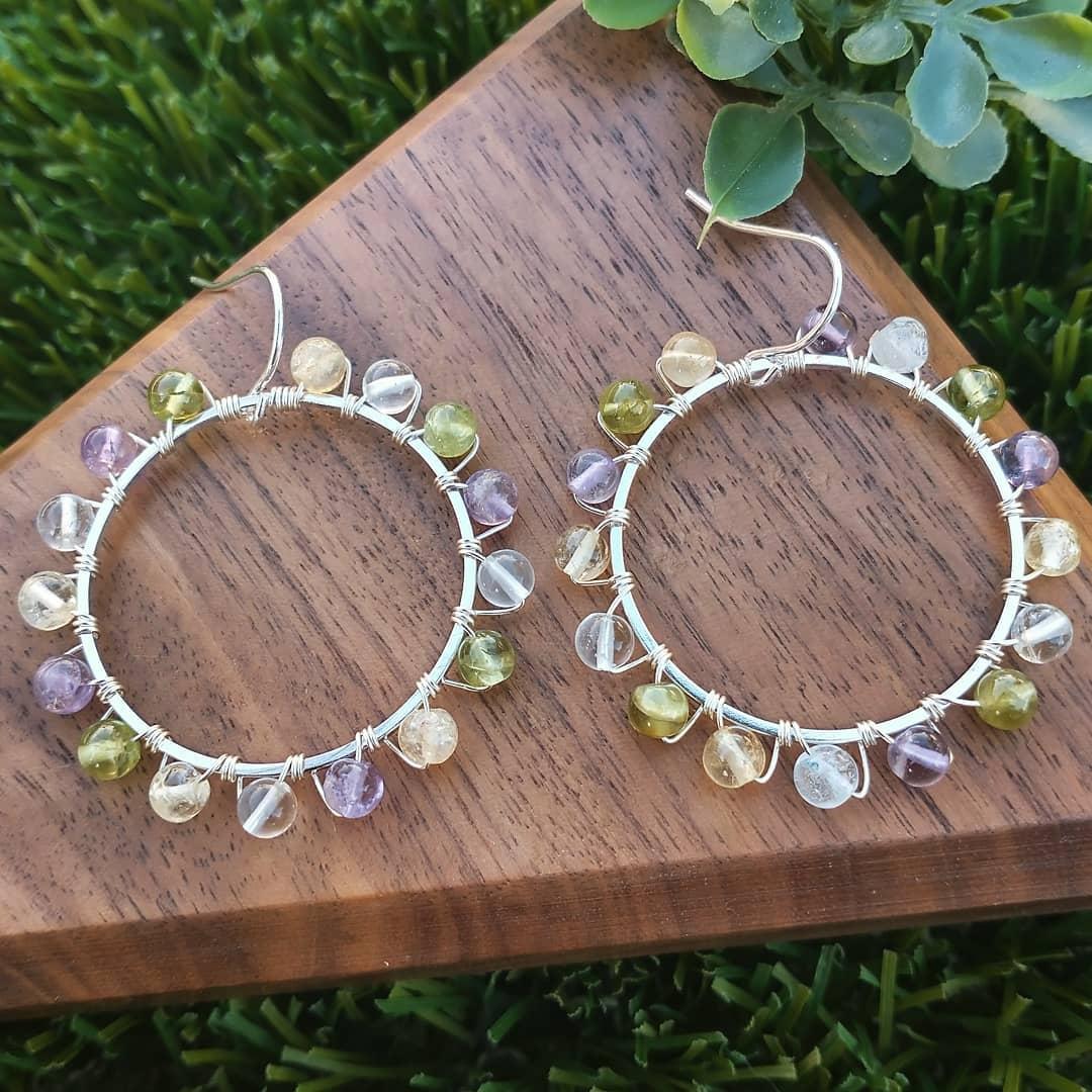 Semi-Precious Sterling Silver Earrings