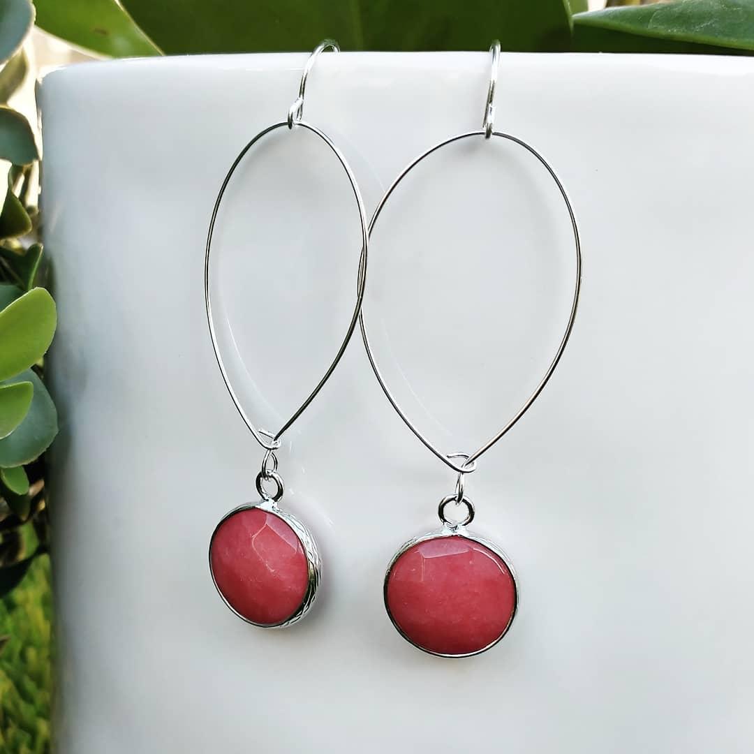 Sweet Strawberry Jade Sterling Silver Dangle Earrings