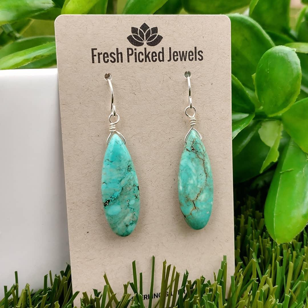 Turquoise Teardrop Sterling Silver Earrings