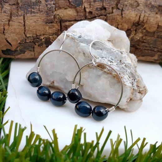 Blue Tigereye Wire-Wrapped Earrings