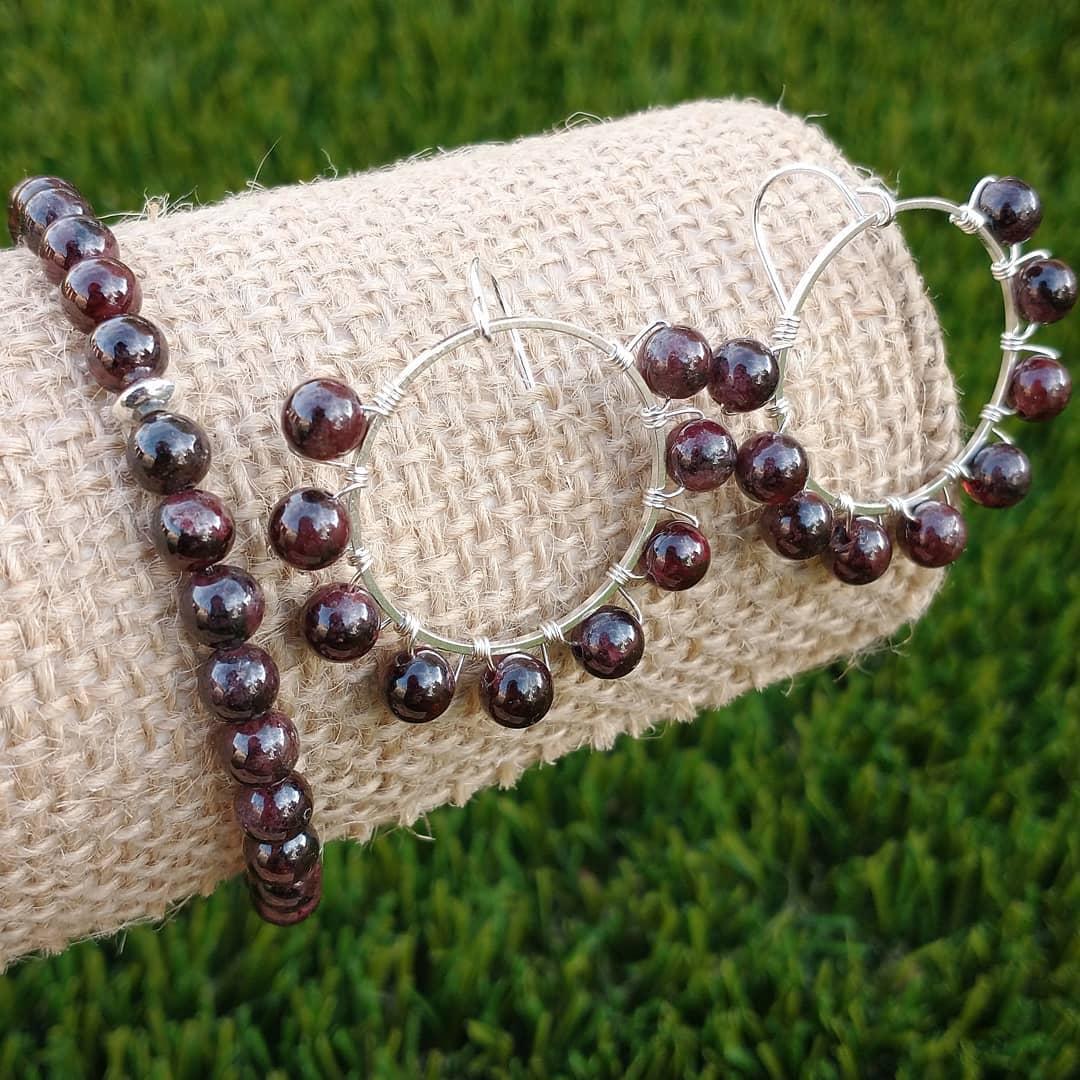 Garnet Bracelet With Garnet Earrings