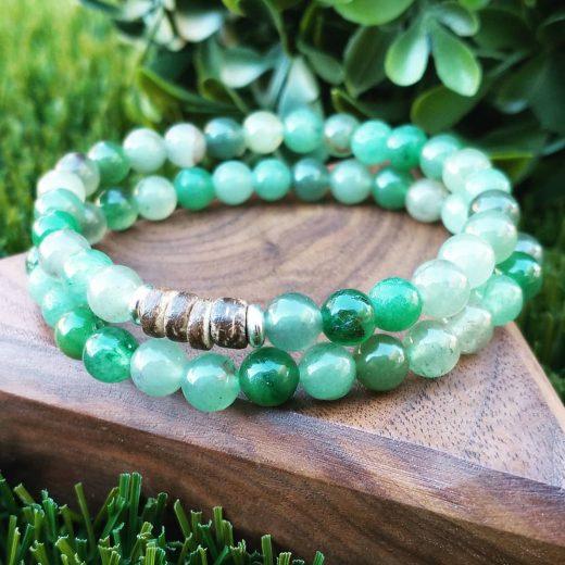 Green Aventurine Bracelets With Wood