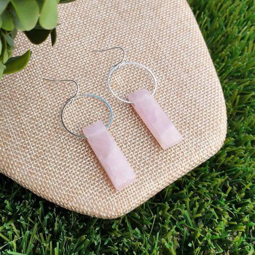 Rose Quartz Stick Sterling Silver Earrings