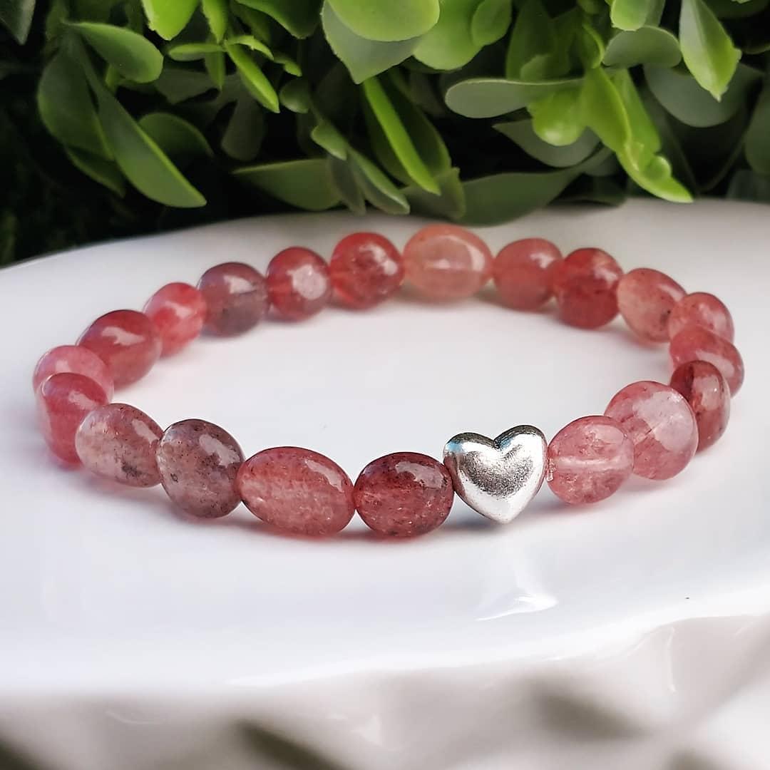 Strawberry Quartz Heart Bracelet