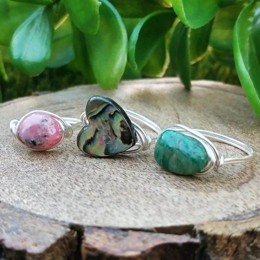 Pink Opal, Abalone Heart, and Amazonite