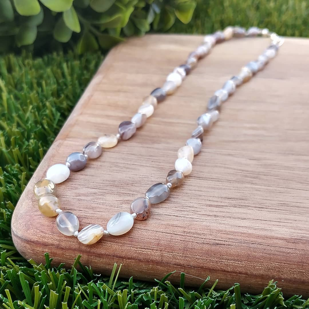 Botswana Agate Hand Knotted Necklace