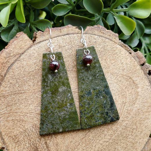 Pyrite & Garnet Sterling Silver Earrings