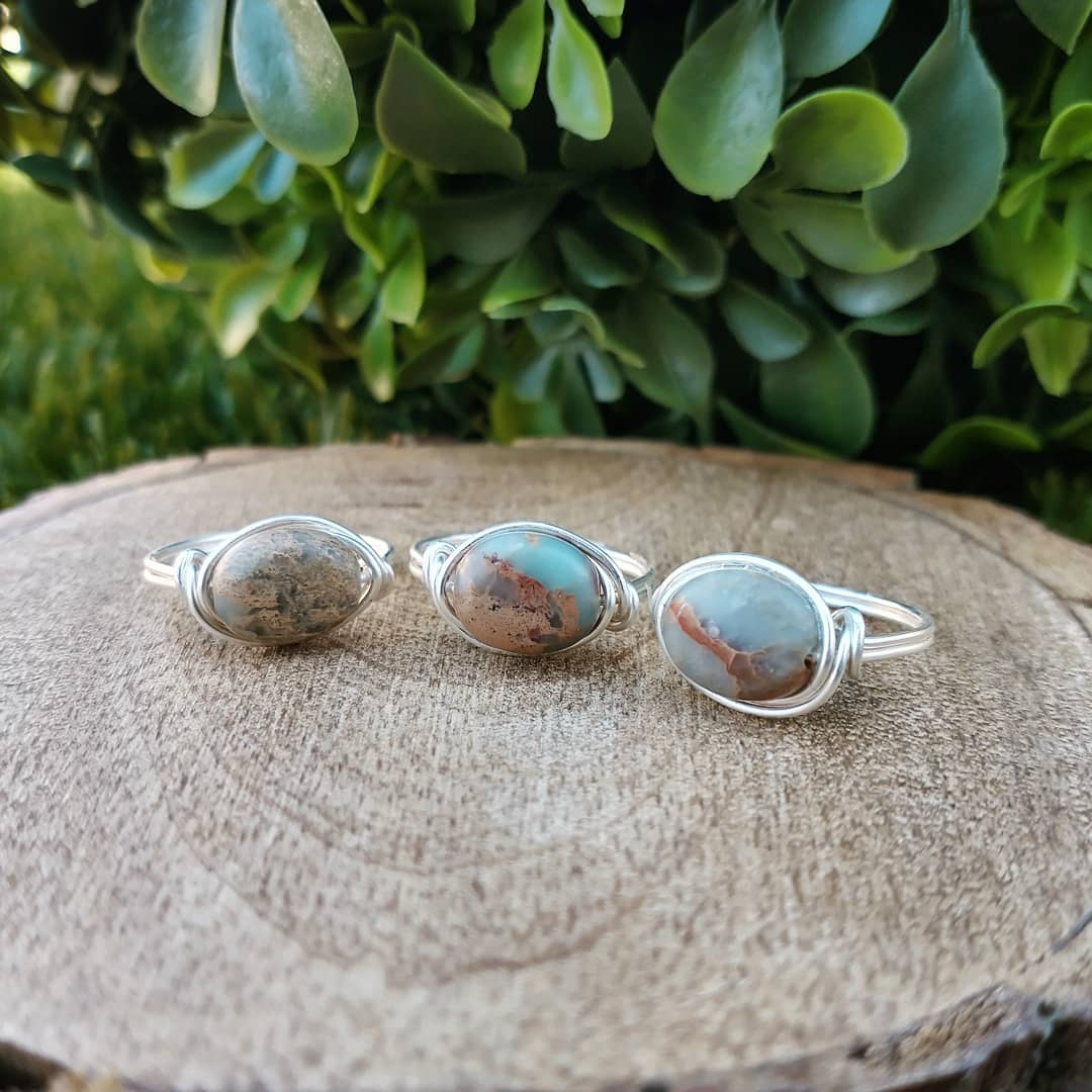Impression Jasper Wire-Wrapped Ring