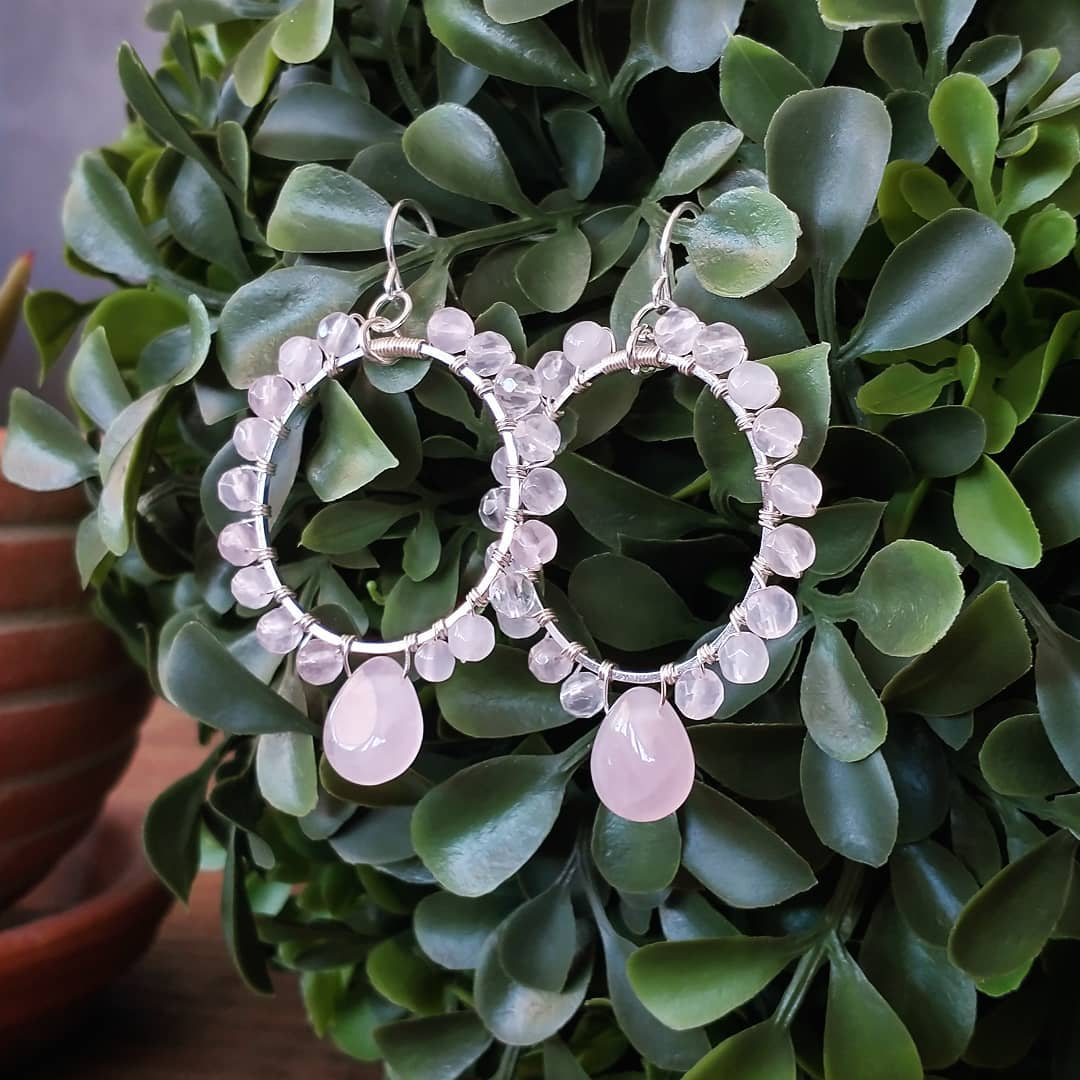 Rose Quartz Wire-Wrapped Earrings