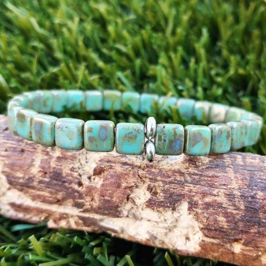 Turquoise Glass Two-Hole Beaded Bracelet