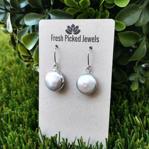 Coin Platinum-Plated Pearl Earrings