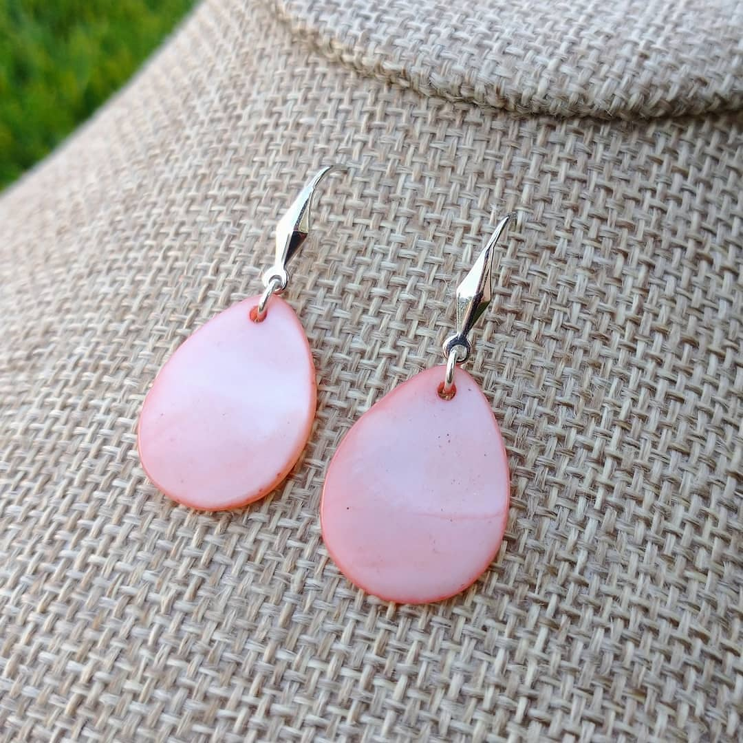 Coral Shell Sterling Silver Earrings