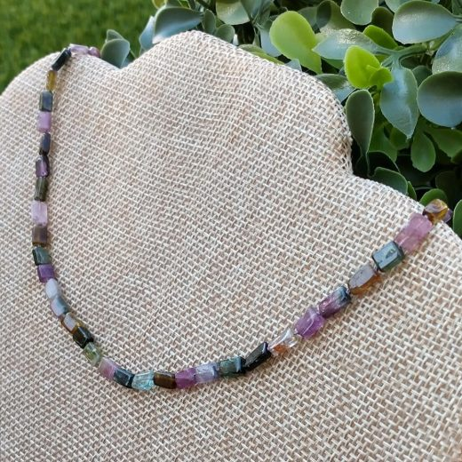 Tourmaline Rectangles Hand Knotted Necklace