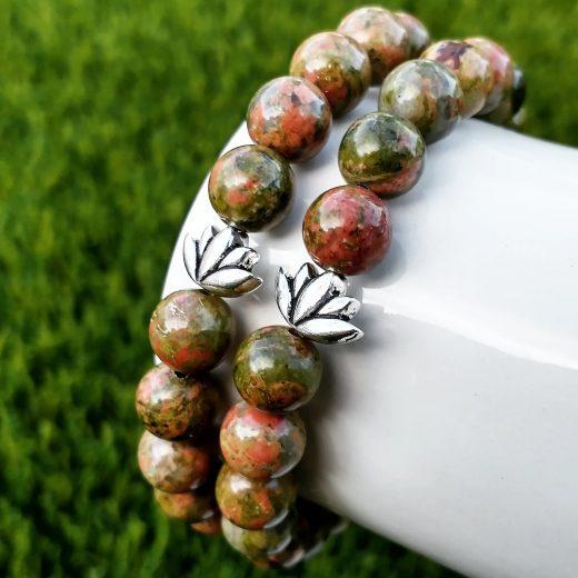 Unakite Gemstone Bracelet with Lotus Bracelet