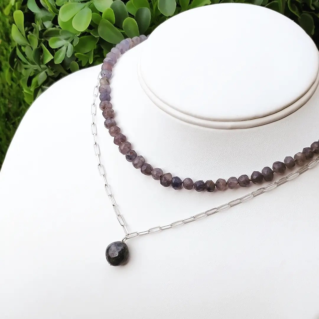 Iolite on Sterling Silver Paper Clip Chain