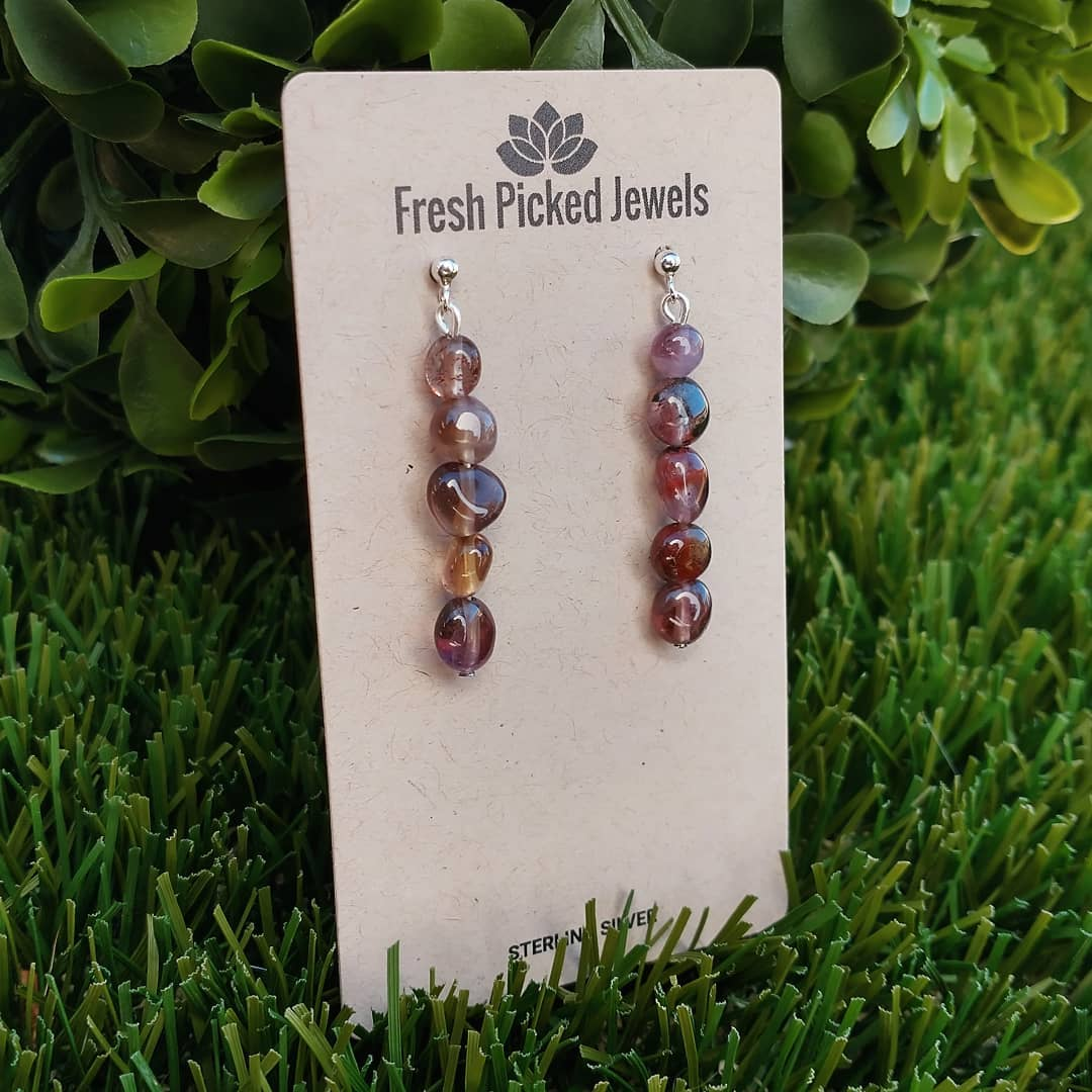 Purple Rutilated Quartz Handmade Earrings