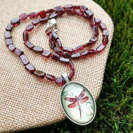 Garnet Dragonfly Necklace