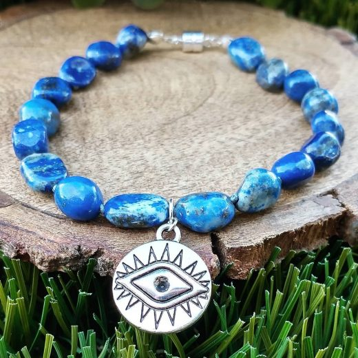 Lapis Hand Knotted Bracelet with Evil Eye Charm